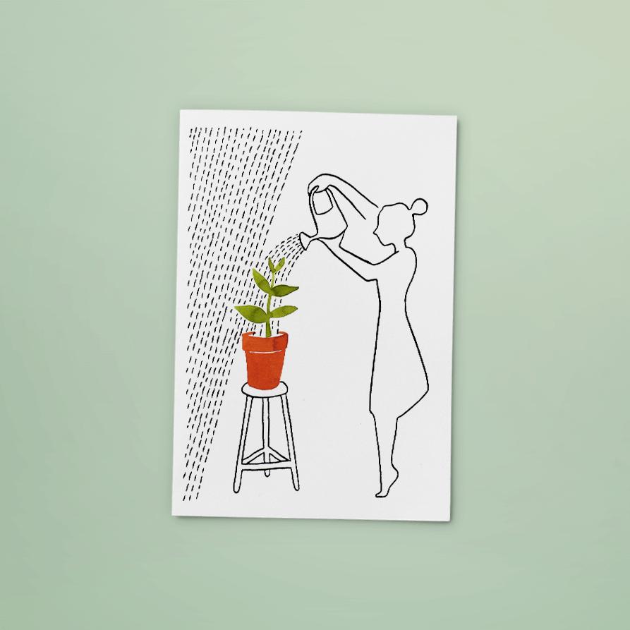kaart water geven | tekening door Cynthia Borst