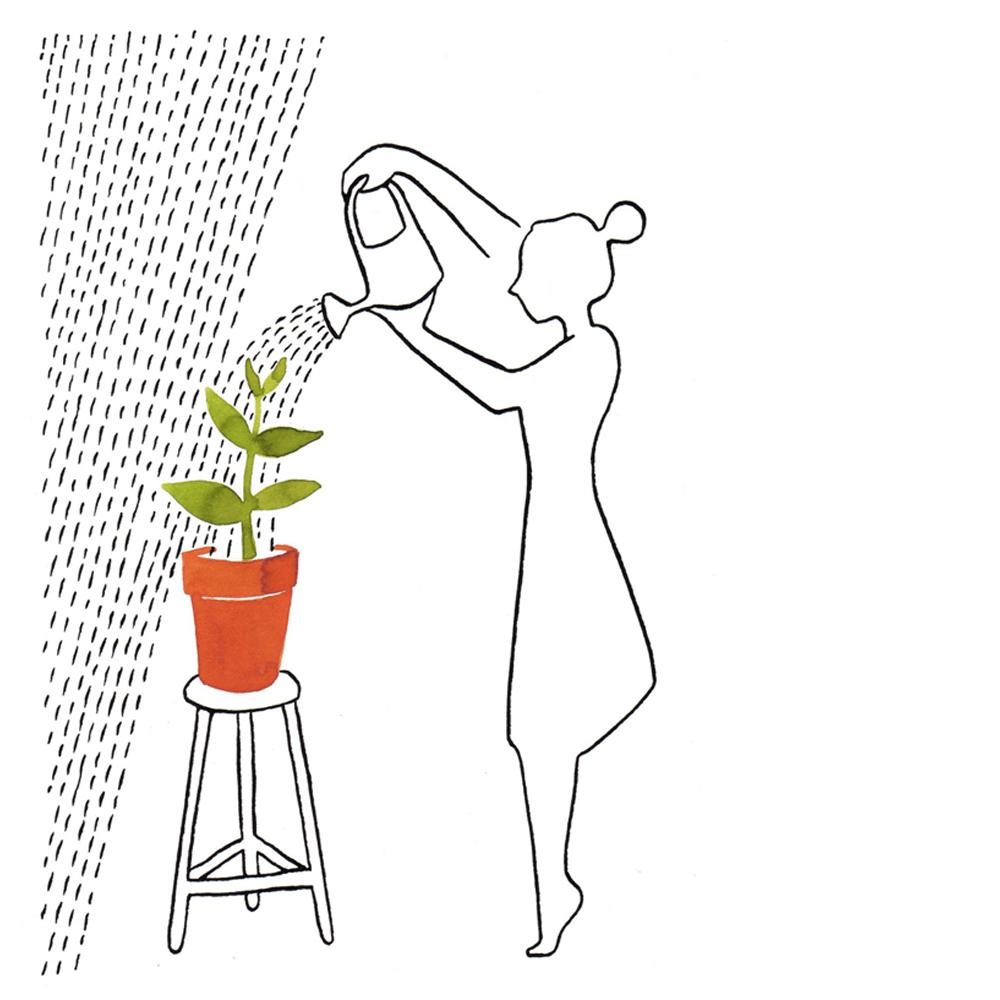 water geven | tekening door Cynthia Borst