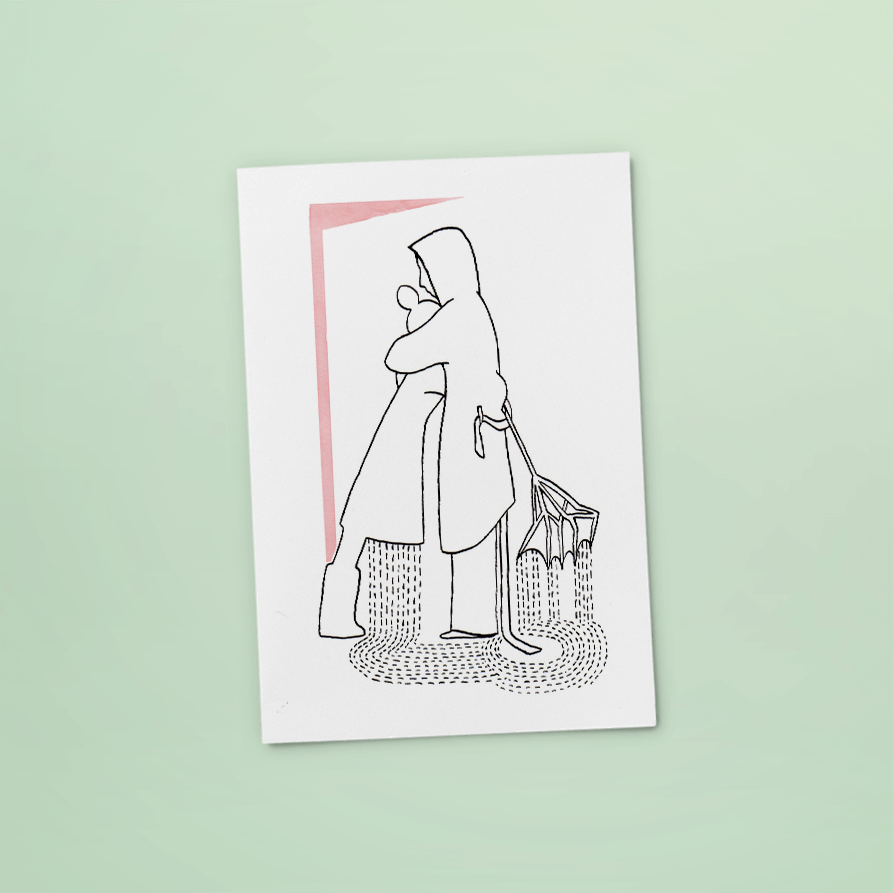 kaart warme arm | tekening door Cynthia Borst
