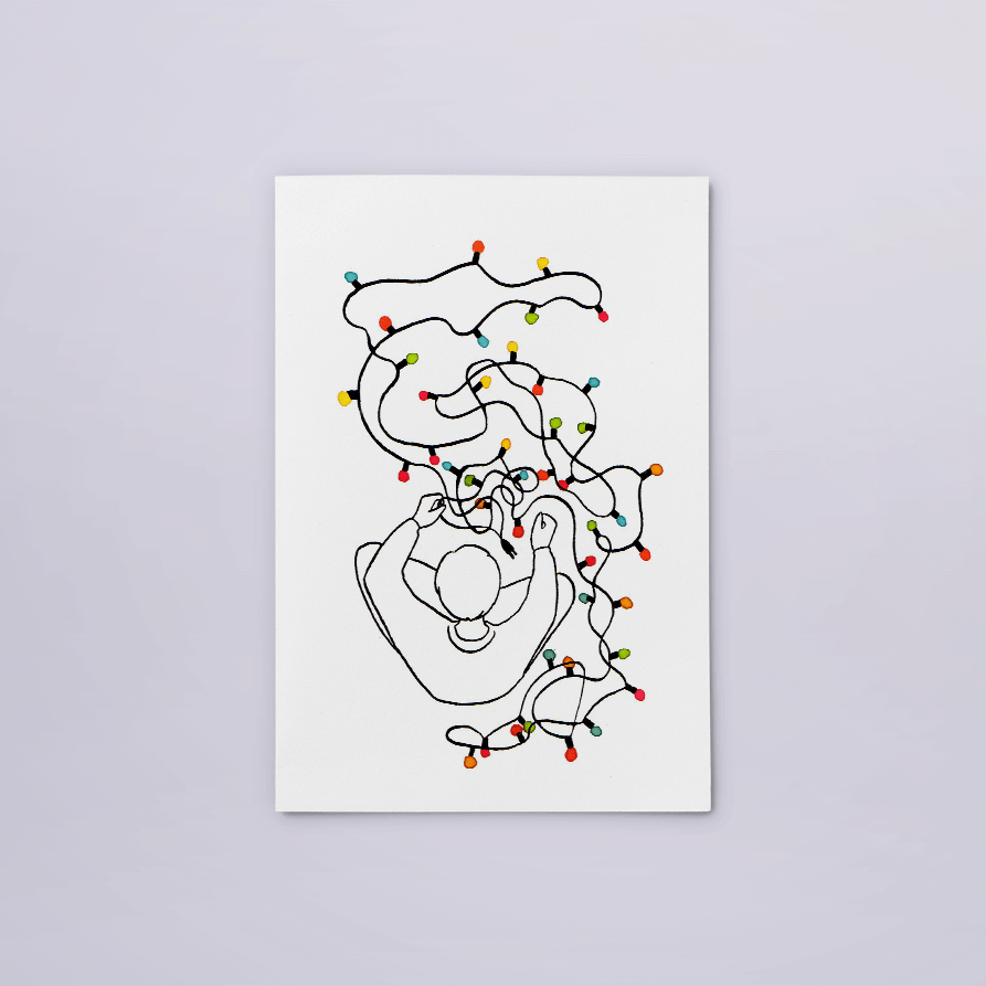 kaart lichtjes | tekening door Cynthia Borst