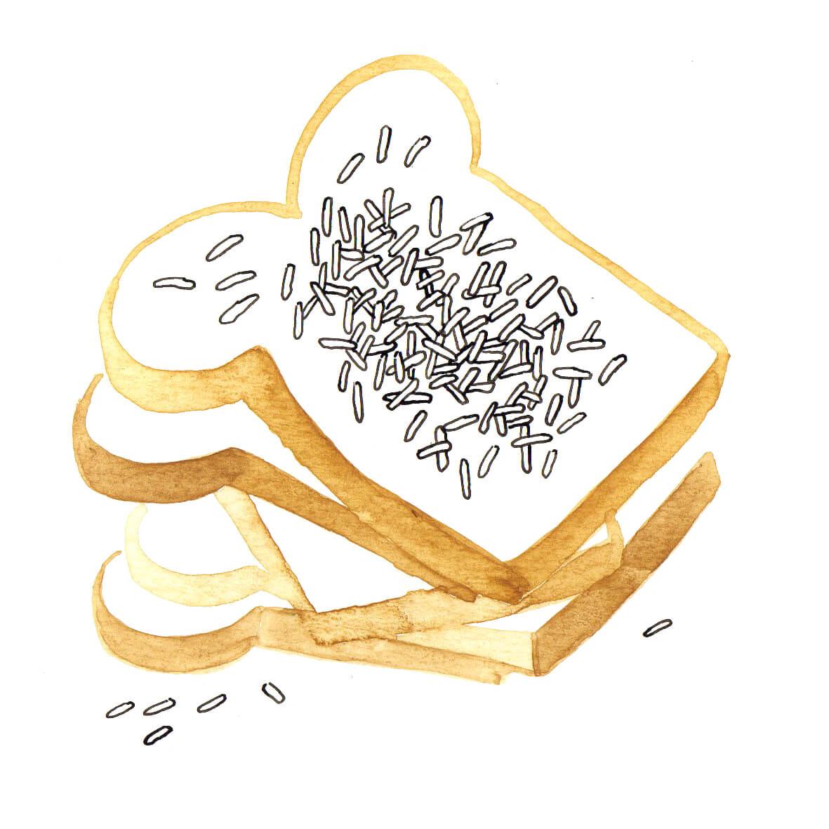 boterham met hagelslag | tekening door Cynthia Borst