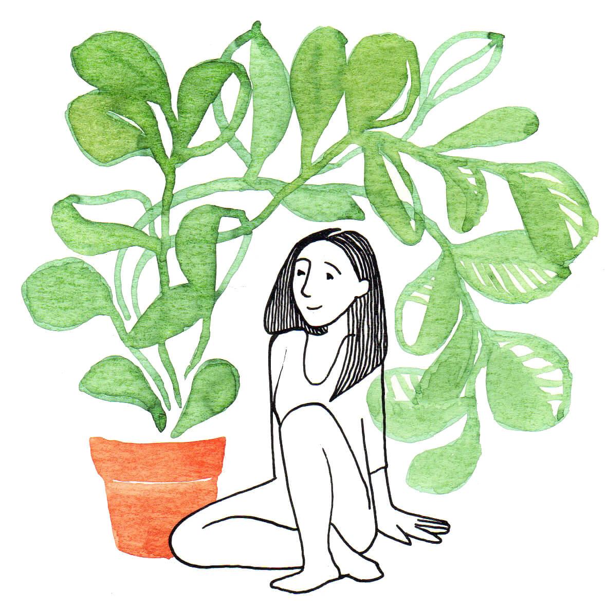 plantenmeisje | tekening door Cynthia Borst