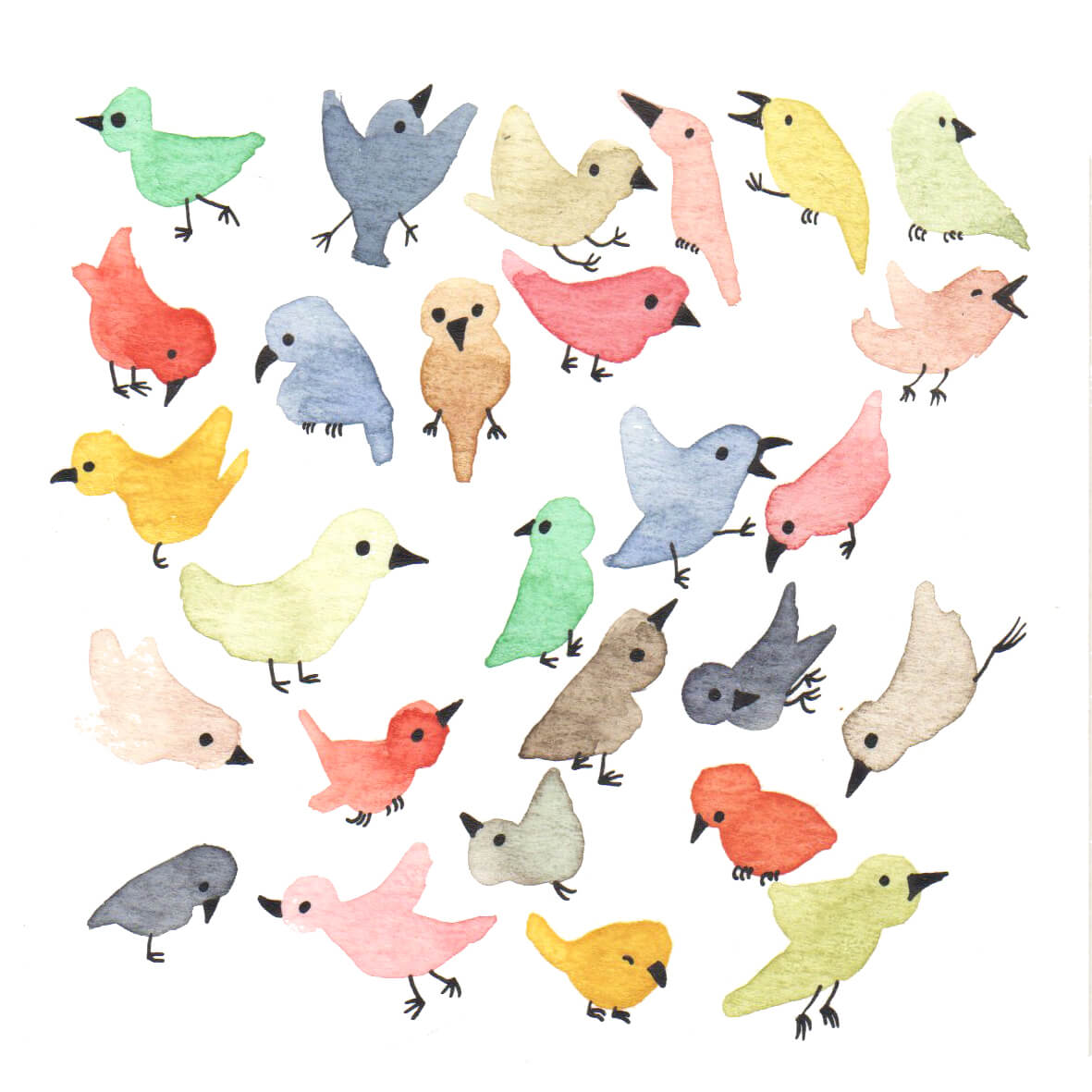 vrolijke vogels | tekening door Cynthia Borst