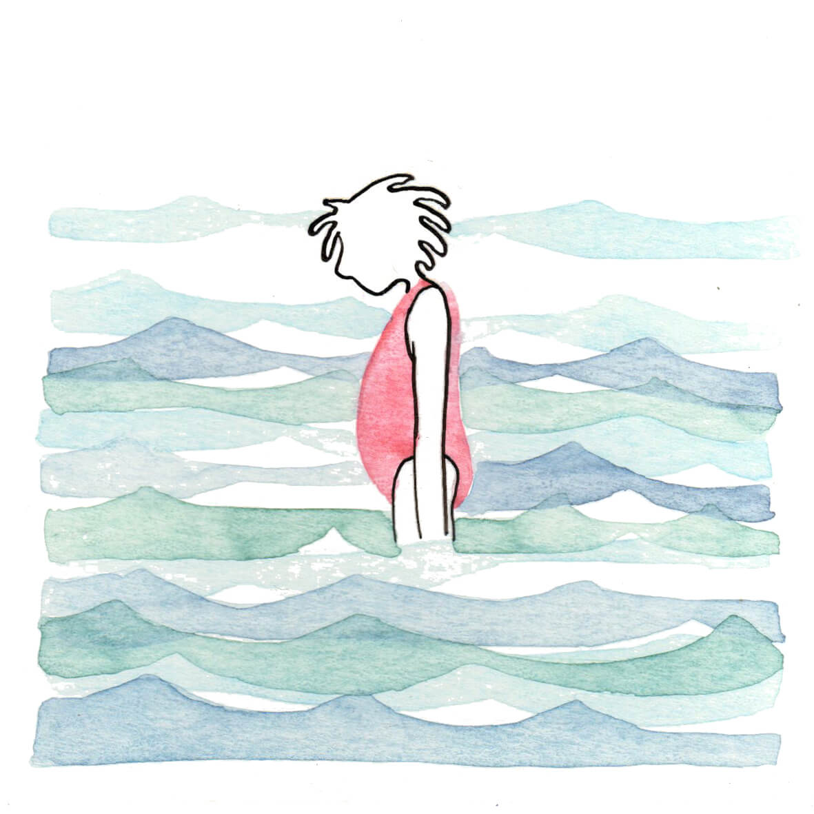 meisje in het water | tekening door Cynthia Borst