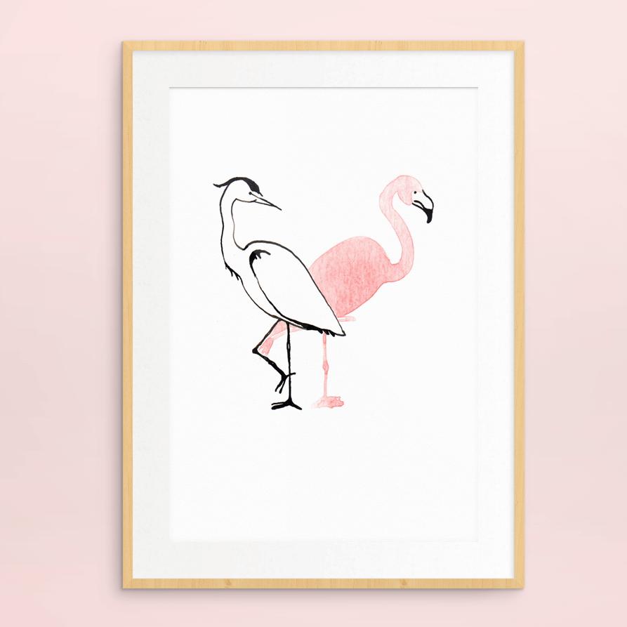 print reiger en flamingo | tekening door Cynthia Borst