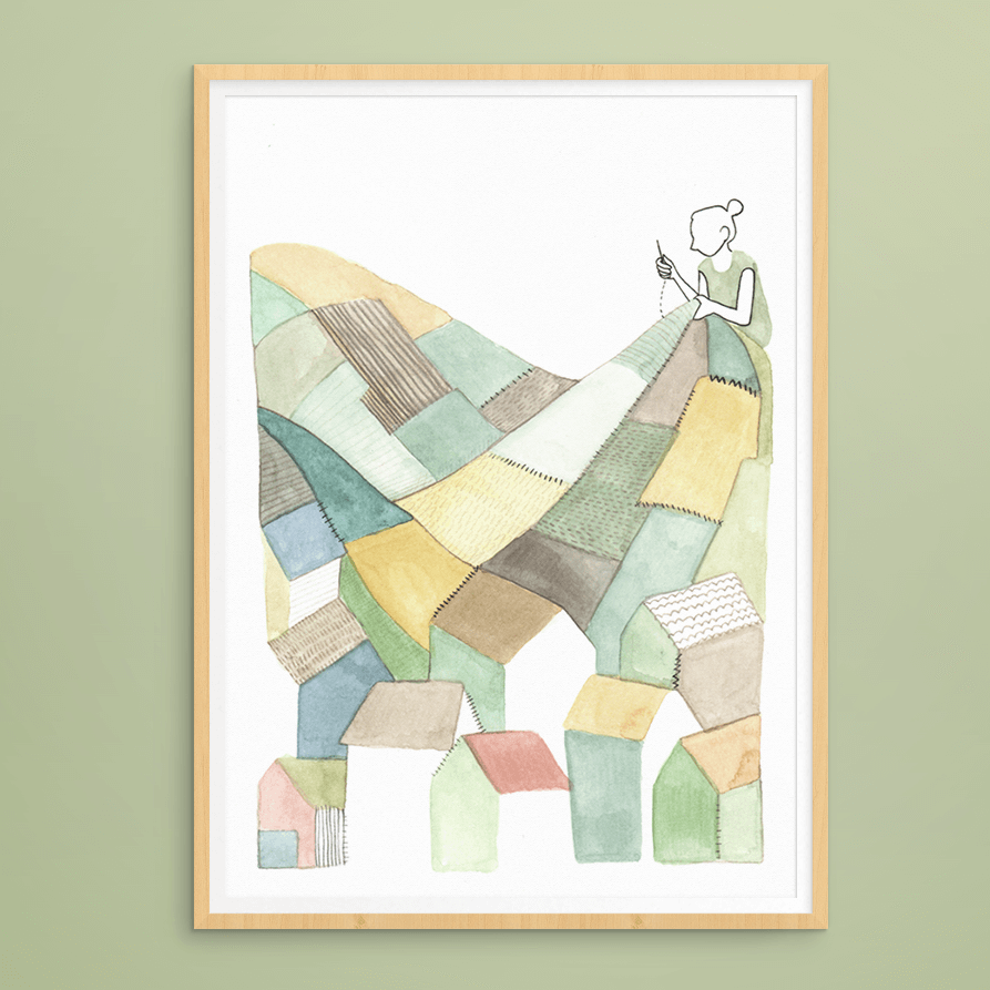 print lappendeken landschap | tekening door Cynthia Borst