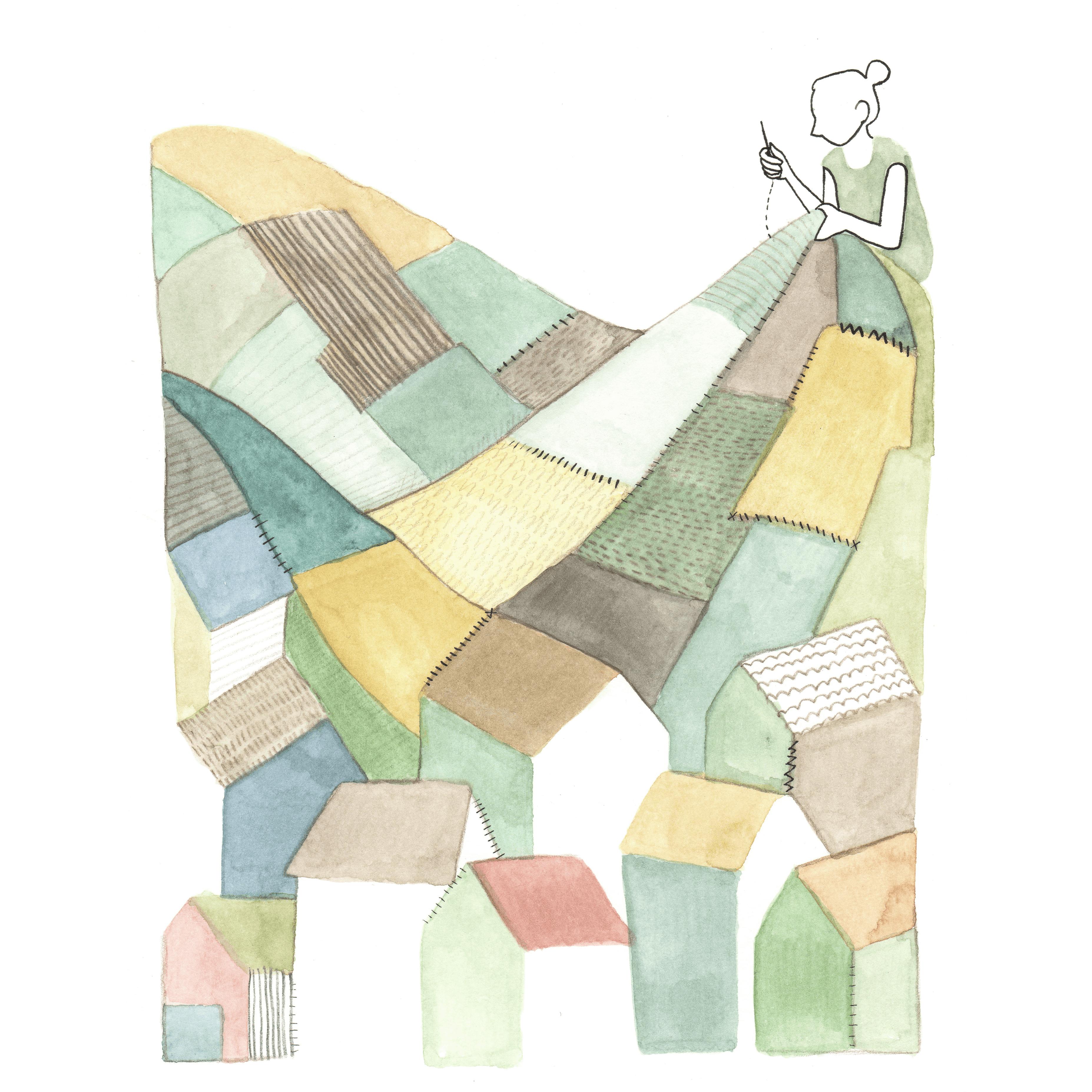 lappendeken landschap | tekening door Cynthia Borst