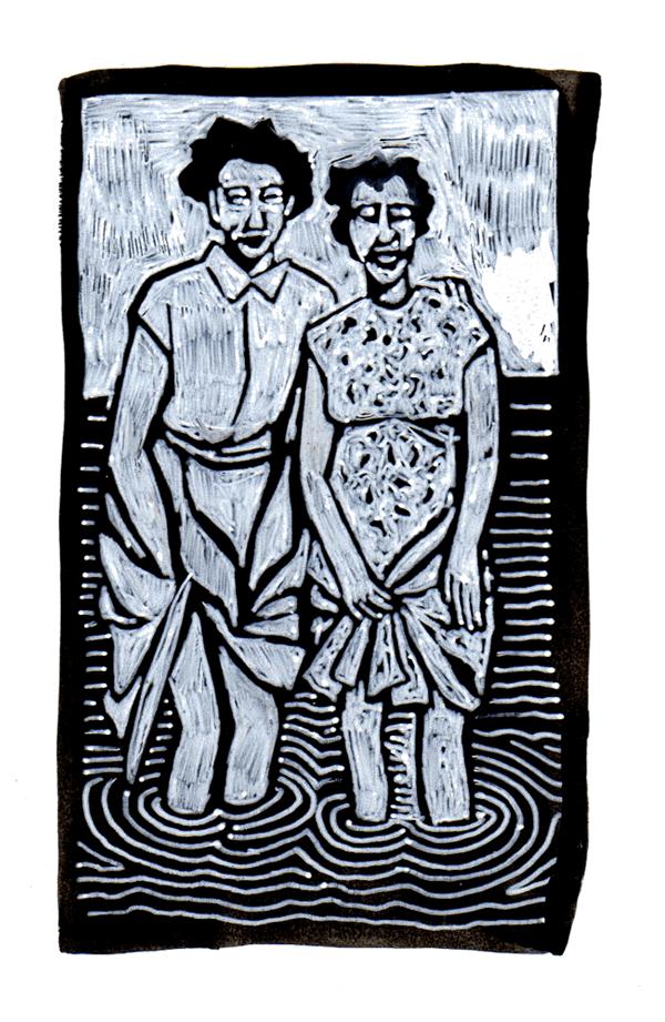 oma in de plas | tekening door Cynthia Borst