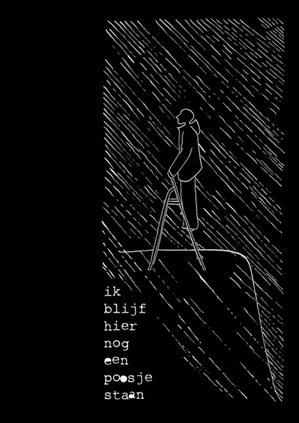 ik blijf hier nog een poosje staan | tekening door Cynthia Borst