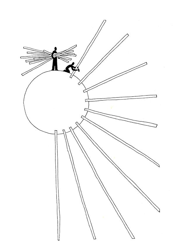 bouwen aan de zon | tekening door Cynthia Borst