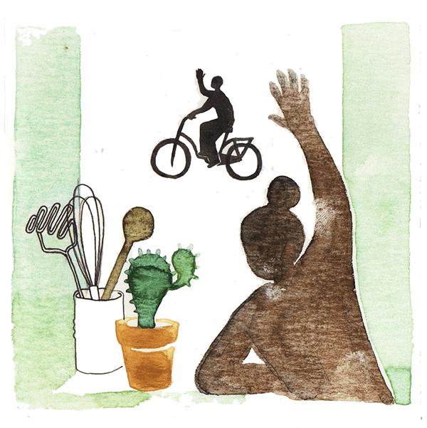 uitzwaaien | tekening door Cynthia Borst