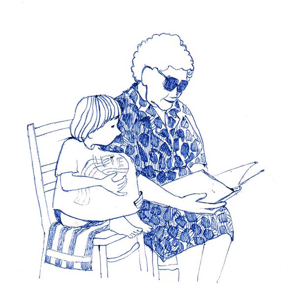 oma leest voor | tekening door Cynthia Borst