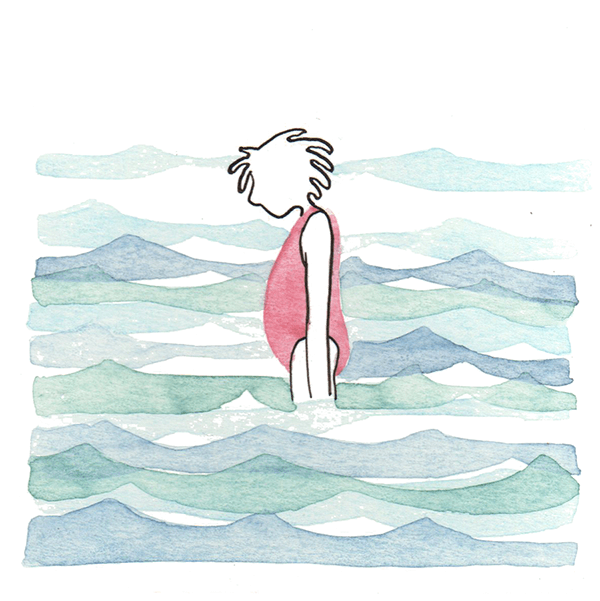 meisje in de zee | tekening door Cynthia Borst