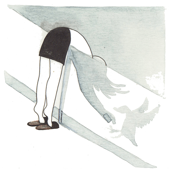 eendjes voeren | tekening door Cynthia Borst