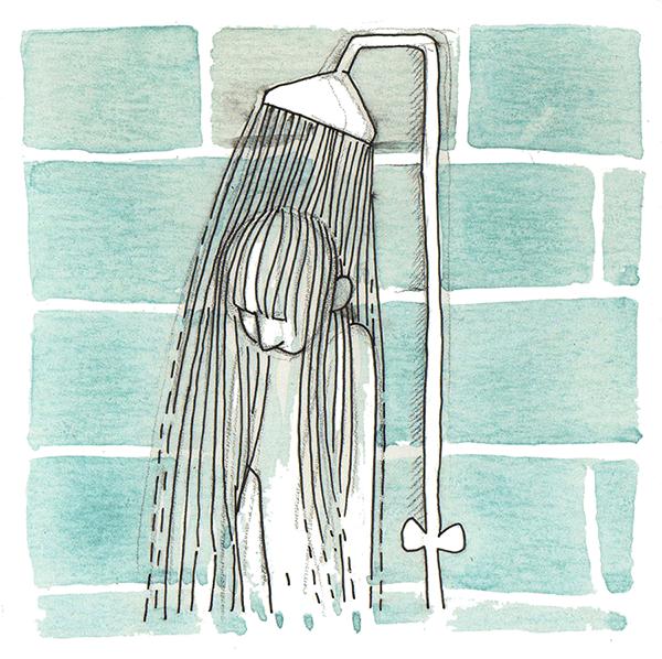 warme stralen in je nek | tekening door Cynthia Borst