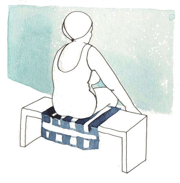 dame bij het zwembad | tekening door Cynthia Borst