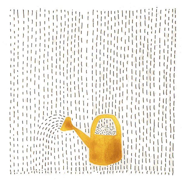 gieter in de regen | tekening door Cynthia Borst