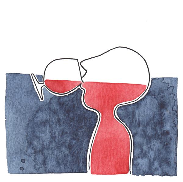 wijn drinken | tekening door Cynthia Borst