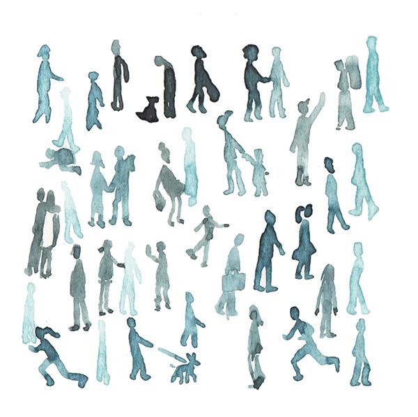 mensen in het park | tekening door Cynthia Borst