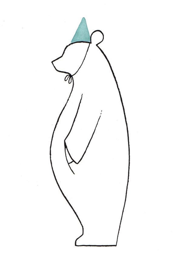 beer met feesthoed | tekening door Cynthia Borst