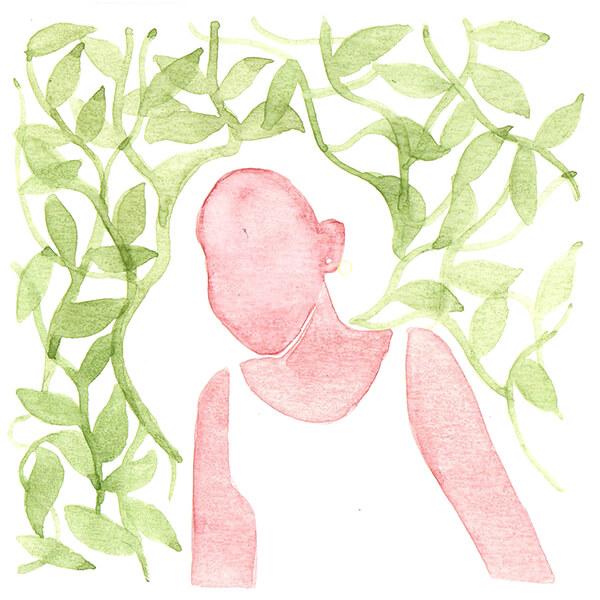 meisje in het groen | tekening door Cynthia Borst