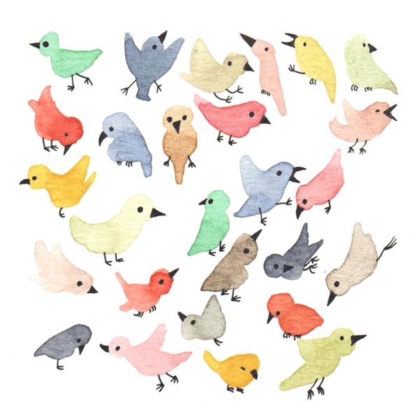 vrolijke vogeltjes | tekening door Cynthia Borst