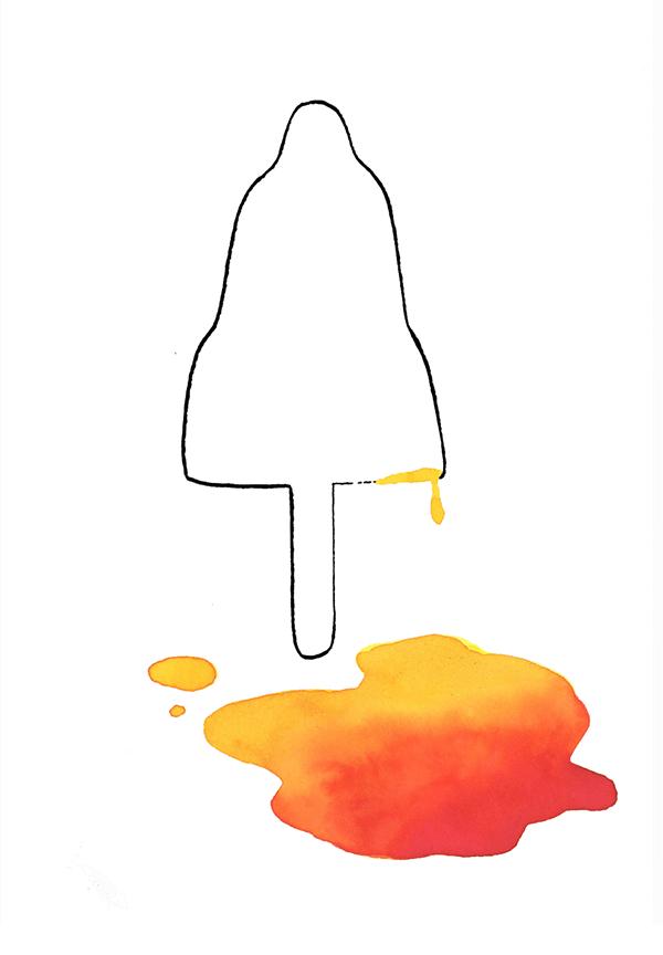 gesmolten raketje | tekening door Cynthia Borst