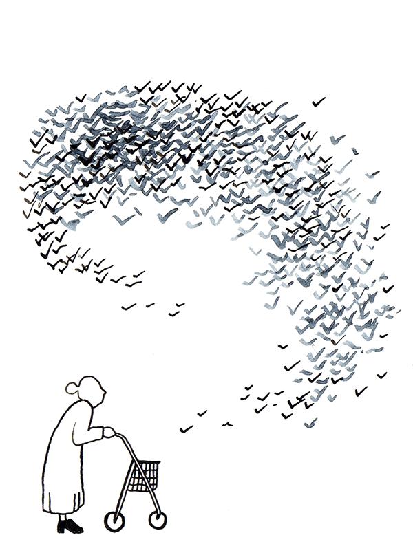 oude dame met vogelzwerm | tekening door Cynthia Borst